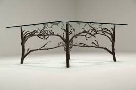 tree branch coffee table glass coffee table with metal branch and leaf base at 1stdibs