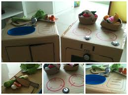 diy cardboard kitchen set with ikea toy vegetables and fruits