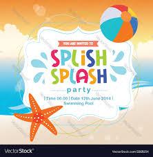 birthday card invitation summer splash vector image