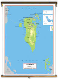 Map Of Bahrain Bahrain Physical Educational Wall Map From Academia Maps