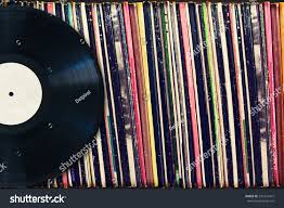 vinyl record copy space front collection stock photo 241614415