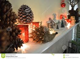 christmas mantel decorations stock photo image 49282880