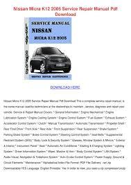 nissan micra k12 2005 service repair manual p by clintbrinkley issuu