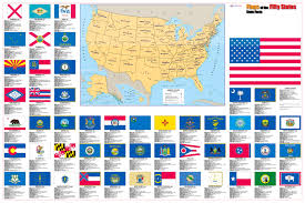 Map Of 50 United States by Flags Of The 50 U S States Wall Map Poster 36x24