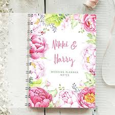 Wedding Planner Journal Personalised Wedding Planner Pink Peonies 4 Year Diary Bride To Be