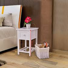 costway night stand 2 layer 1 drawer bedside end table organizer