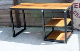 bureau m騁allique industriel bureau style industriel métal bois iroko bureau industriel in