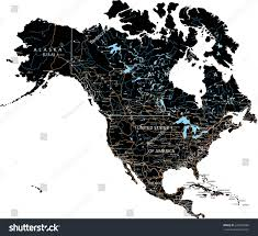North America Map Labeled by High Detailed North America Road Map Stock Vector 246362086