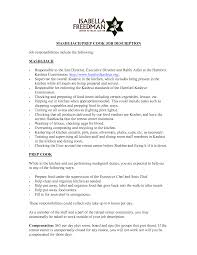 Server Job Duties For Resume by Awesome Cook Job Description For Resume Images Best Resume