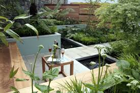 outdoor and patio small backyard pond ideas combined with tile