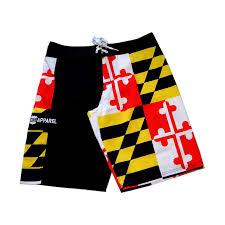 Mens Flag Shorts Maryland Flag Black Board Shorts
