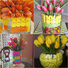 homemade easter decorations for the home easter centerpieces with peeps and potted bulbs