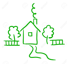 artistic green sketch of cottage trees and fence royalty free