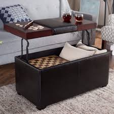 Leather Storage Ottoman With Tray Coffee Table Fabulous Ottoman Table Top Square Leather Ottoman