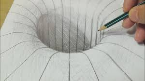 drawing with graphite pencil round hole illusion trick art on