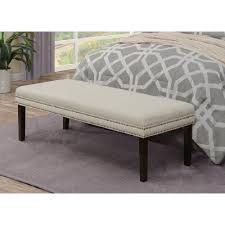 linen white upholstered bed bench with nail head trim ds d images