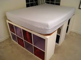 Wood Bed Frame With Shelves Raised Storage Bed Frame With White Wooden Cubism Shelving Unit Of