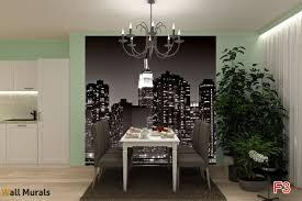 Dining Room Murals Mural New York Black Skyscrapers