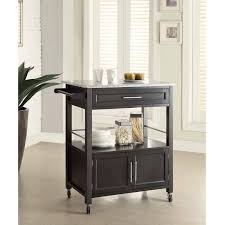 Kitchen Island With Black Granite Top Cameron Kitchen Cart With Granite Top Black Finish Walmart Com