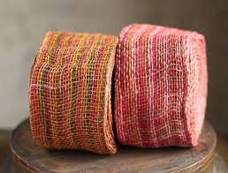 colored burlap ribbon orange green and fuchsia rope fiber jute ribbon 4 in x 10 yards