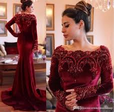 2017 burgundy mermaid evening dresses arabic formal prom gowns