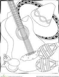 color the cinco de mayo instruments worksheet education com
