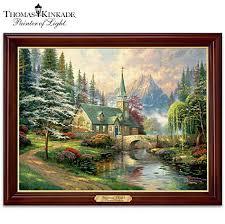 thomas kinkade lighted pictures kinkade dogwood chapel illuminating canvas print