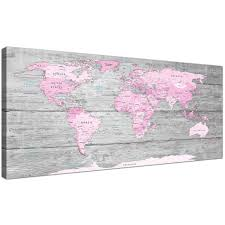 Map Of The World Art by Large Pink Grey Map Of World Atlas Canvas Wall Art Print Maps