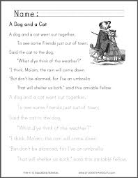 a dog and a cat worksheets student handouts