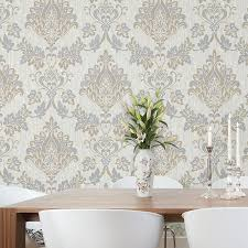 vymura senator damask glitter wallpaper in taupe and silver