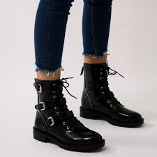 black biker boots bramble buckled biker boots in black public desire us
