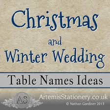 Ideas For Wedding Table Names Winter And Table Names Pt 4 A S Invites