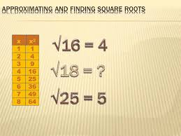 number sense approximating and finding square roots 8th grade