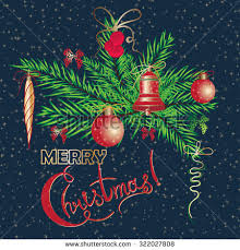Decorate With Christmas Cards Christmas New Year Vintage Greeting Cards Stock Vector 319653860
