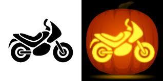 free motorcycle pumpkin stencil