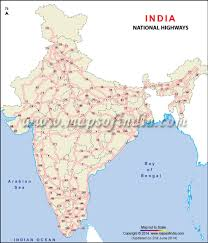India Physical Map by Clickable National Highway Map