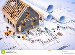 free download residential building plans building house on blueprints with worker stock photo image 53359756