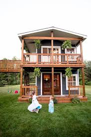 Playhouses For Backyard by Father Builds An Amazing Two Story Playhouse For His Daughters