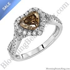 unique engagement rings for women on sale fancy brown heart diamond halo engagement ring sp1001