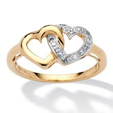 gold promise rings diamond accent interlocking heart promise ring in 18k gold