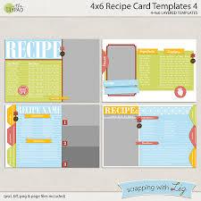 digital scrapbook templates 4x6 recipe card 4 scrapping with liz