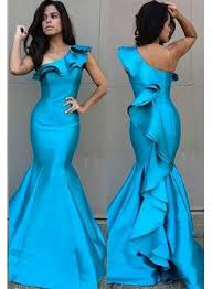 blue mermaid prom dresses one shoulder ruffles tight fitting