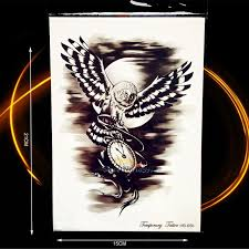 cool flying owl tattoo men women body arm art moon night owl clock