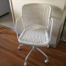 Rattan Desk Chair White Wicker Rolling Desk Chair Chairish