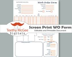 work order form for screen printing instant download