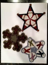 hand stitched wool felt christmas ornaments santa snowmen