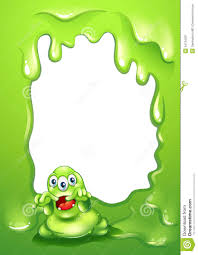 a green border design with a scary green monster stock image
