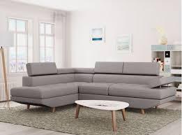 canapé en tissu gris canapé d angle style scandinave pieds bois avec revêtement tissu
