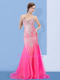 pink sweetheart mermaid beaded 2015 prom dress with appliques