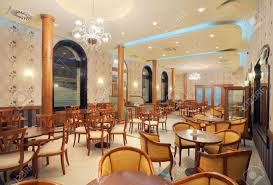 interior of a restaurant vintage style wooden classical